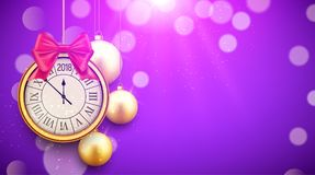 2018 new year shining background with clock. Happy new year 2018 celebration decoration golden balls poster, festive card template.  Stock Images