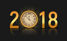 2018 new year shining background with clock. Happy new year 2018 celebration decoration poster, festive card template.  Stock Photos