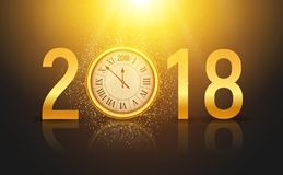 2018 new year shining background with clock. Happy new year 2018 celebration decoration poster, festive card template.  Stock Photography