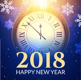 2018 new year shining background with clock. Happy new year 2018 celebration decoration poster, festive card template.  Royalty Free Stock Photo
