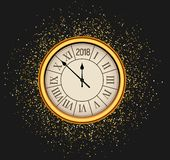 2018 new year shining background with clock. Happy new year 2018 celebration decoration poster, festive card template.  stock illustration