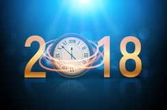 2018 new year shining background with clock. Happy new year 2018 celebration decoration poster, festive card template.  royalty free illustration
