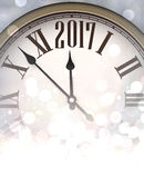 2017 New Year shining background. 2017 New Year shining background with clock. Vector illustration Royalty Free Stock Photography