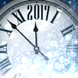 2017 New Year shining background. 2017 New Year shining background with clock. Vector illustration Stock Photo