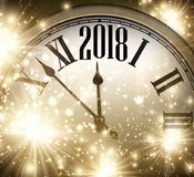 2018 New Year background with clock. 2018 New Year shining background with clock. Vector illustration Royalty Free Stock Photos