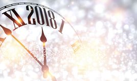 2018 New Year background with clock. 2018 New Year shining background with clock. Vector illustration Stock Photography