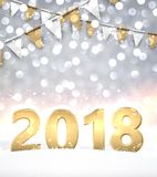 2018 New Year shining background. Festive 2018 New Year shining background with flags. Vector illustration Stock Photos