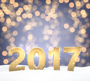 2017 New Year shining background. Golden 2017 New Year shining background. Vector illustration Stock Photos