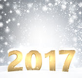 2017 New Year shining background. 2017 New Year shining background with snow. Vector illustration Royalty Free Stock Photo