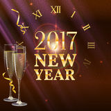New Year shining banner with a clock and champagne glasses. 2017 New Year shining banner with a clock and champagne glasses. Festive background with light Stock Photos