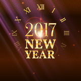 New Year shining banner with clock. 2017 New Year shining banner with clock. Festive background with patches of light, refractions and reflections of bright Royalty Free Stock Images