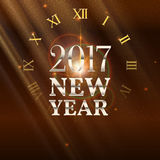 New Year shining banner with clock. 2017 New Year shining banner with clock. Festive background with patches of light, refractions and reflections of bright Royalty Free Stock Photo