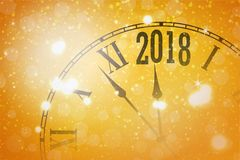 2018 New Year shining banner with clock. Vector illustration Royalty Free Stock Photo