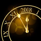 2018 New Year shining banner with clock. Vector illustration. vector illustration