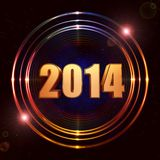 New year 2014 in shining golden rings vector illustration