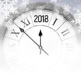 2018 new year shining snow background with clock. Happy new year 2018 celebration decoration poster, festive card template.  Royalty Free Stock Photos