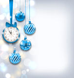 New Year Shiny Background with Clock and Glass Stock Photos