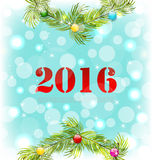 New Year Shiny Background with Wreath and Colorful. Illustration New Year Shiny Background with Wreath and Colorful Balls - Vector Royalty Free Stock Photography
