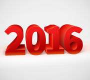 New year 2016 shiny 3d red. Text. Vector illustration Stock Images