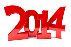 2014 new year. 2014 in shiny red numbers Stock Photography