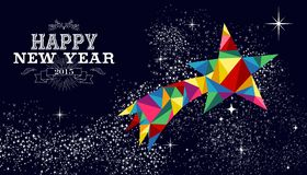 New year 2015 shooting star card Stock Photo