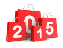 New year shopping. 3d illustration of shopping bags with 2015 sign Royalty Free Stock Image
