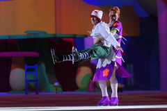 New Year show Karlsson-on-the-Roof of Ilya Averbukh. St. Petersburg, Russia - December 29, 2015: Figure skaters Alexey Yagudin as Karlsson and Alexey Tikhonov as Stock Image