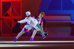 New Year show Karlsson-on-the-Roof of Ilya Averbukh. St. Petersburg, Russia - December 29, 2015: Figure skaters Alexey Yagudin as Karlsson and Alexey Tikhonov as Stock Photography