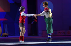 New Year show Karlsson-on-the-Roof of Ilya Averbukh. St. Petersburg, Russia - December 29, 2015: Figure skaters Maria Petrova as Lillebror and Alexey Yagudin as Stock Images