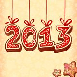 New Year sign 2013, christmas sweets Royalty Free Stock Photos