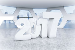 New 2017 Year Sign in Abstract Bright Office Meeting Room. 3d Re. New 2017 Year Sign in Abstract Bright Office Meeting Room extreme closeup. 3d Rendering Stock Photography