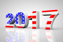 New Year 2017 Sign as USA Flag. 3d Rendering. New Year 2017 Sign as USA Flag on a grey background. 3d Rendering Royalty Free Illustration