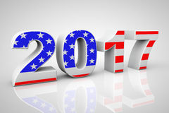New Year 2017 Sign as USA Flag. 3d Rendering. New Year 2017 Sign as USA Flag on a grey background. 3d Rendering Stock Illustration