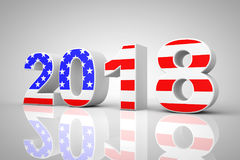 New Year 2018 Sign as USA Flag. 3d Rendering Royalty Free Stock Photography
