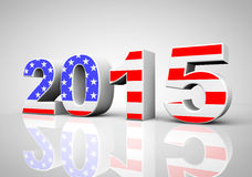 New Year 2015 Sign as USA Flag. On a grey background stock illustration