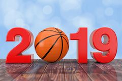2019 New Year Sign with Basketball Ball. 3d Rendering stock photos