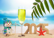 New year 2015 sign. On the beach Royalty Free Stock Images