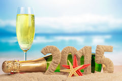 New year 2015 sign. On the beach stock photo