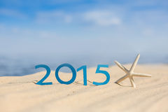 New year 2015 sign. On the beach Stock Photography