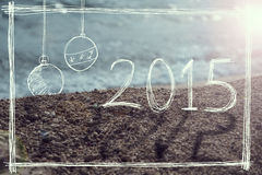 New Year 2015 sign on the beach Stock Images
