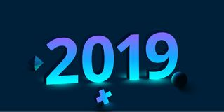2019 new year sign on blue background. 2019 new year 3d sign on blue background with geometric figures. Vector illustration Royalty Free Stock Photography