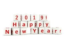 2019 New Year sign on bricks isolated on white. 3D illustration vector illustration