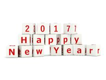 2017 New Year sign on bricks isolated on white. 3D illustration Royalty Free Stock Image