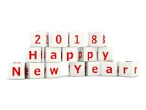2018 New Year sign on bricks isolated on white. 3D illustration royalty free illustration