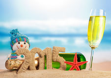 New year 2015 sign with champagne Royalty Free Stock Images