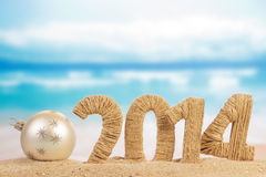 New year sign and christmas ball Stock Photos
