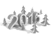 New Year 2016 Sign With Christmas Trees Stock Image
