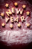 New Year sign. New Year cookies sign and blank space on white space stock images