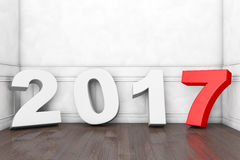 2017 New Year Sign in Empty Room. 3d Rendering. 2017 New Year Sign in Empty Room extreme closeup. 3d Rendering Royalty Free Stock Photos