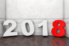2018 New Year Sign in Empty Room. 3d Rendering Royalty Free Stock Photos